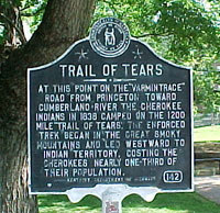 Trail of Tears Historic Marker in Caldwell County, KY
